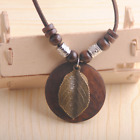 New Vintage Boho Geometry Wood Pendant Handmade Bead Long Ethnic Style Necklace  image