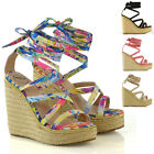 Womens Lace Up Sandals Wedge Heel Platfrom Ladies Strappy Espadrilles Shoes