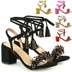 Womens Low Block Heel Strappy Sandals Ladies Fringe Diamante Lace Up Shoes Size