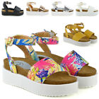 WOMENS PLATFORM STRAPPY SANDALS CHUNKY WEDGE FLATFORM PEEP TOE CASUAL SHOES 3-8