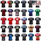 Men's GYM Compression T-Shirt Superhero Avengers Marvel Muscle Fitness Tops Tee image