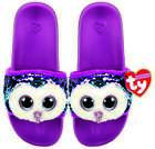 TY MOONLIGHT OWL POOL SLIDES SLIDERS SEQUIN FLIP FLOPS SMALL MEDIUM LARGE