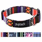Adjustable Metal Dog Faux Leather Collar with Pattern Designed