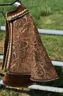 Renaissance Fighting Cape, Brown Paisley Embroidered, Brass Accents, Brown Trim