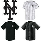 NY New York Mets Striped Button Jersey Baseball Open T-Shirts Uniform 0109 on Ebay