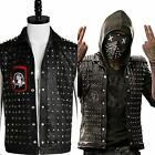 Watch Dogs 2 Wrench Vest Cosplay Costume Black Leather Dedsec Logo Jacket