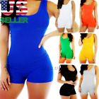 Short Romper Jumpsuit Leotard Sleeveless Top Women Stretch Blouse Lady Bodysuit
