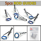 5pcs/set Fishing Rod Guides Magnetic Stainless Steel Top Tip Ring Eyes Kit Tool