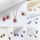 3pcs Womens Ladies Wedding Jewelry Set Sparkling Crystal Necklace Rings Earrings