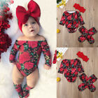 Newborn Kid Baby Girl Floral Clothes Off Shoulder Romper+Socks 3PCS Outfits Set