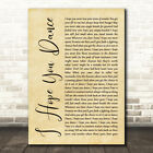 I Hope You Dance Rustic Script Song Lyric Quote Print