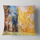 East Urban Home Landscape Retro Palms in Shade Pillow