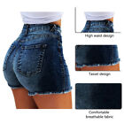Women Lady High Waist Denim Casual Distressed Tassel Retro Jeans Ripped Shorts
