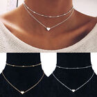 Necklace Double Layer Heart Chain Hot Multilayer Choker Pendant Gold Silver Uk