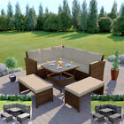 Rattan Garden Furniture Corner Dining Table Sofa Patio Set Bench Grey Brown