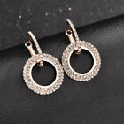 925 Silver Rose Gold Crystal Round Hoop Earrings Womens Jewellery Party Wedding