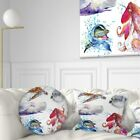 Designart 'Amazing undersea Life Collage' Contemporary Animal Throw Pillow