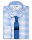 T.M.Lewin Slim Fit Blue Check Poplin Button Cuff Shirt