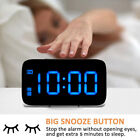 New Large LED Digital Alarm Snooze Clock Voice Control Time USB/Battery Operated
