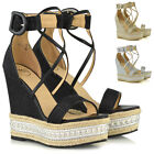 Womens High Heel Wedge Sandals Ladies Espadrilles Platform Ankle Strap Summer