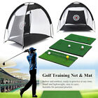 Golf Hitting Cage Practice Net Trainer With Training Mat +2 Balls +Tee