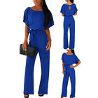 Women's Summer Short Sleeves Buttoned Overall Jumpsuit Solid Work Playsuits New