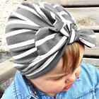 1x Baby Boys Girls Bowknot Hat Toddler Striped Turban Headscarf Hair Accessories