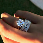 Luxury Solitaire White Sapphire Ring Set 925 Silver Wedding Engagement Jewelry $2.99 USD on eBay