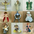 ANGEL ORNAMENTS Vtg Bell Hippi Boy Girl December Icicle Lace Straw Heart Acrylic