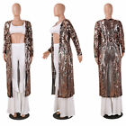 New Women Sexy Sequin Long Sleeve Coat See-Through Long Coat Club Party Clothing