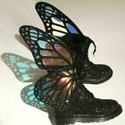 Womens Butterfly Riding Ankle Boots Black Shiny Bling Bling Sequin Leather Shoes