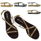 Womens Diamante Strappy Sandals Flat Ladies Holiday Casual Party Shoes Size 3-8