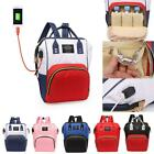 Mummy Maternity Baby Nappy Diaper Bag Backpack Changing Bags USB Port Handbag