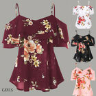 Fashion Women Chiffon Floral Sling Short Sleeve  Casual Loose Shirt Blouse Top