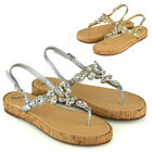 Womens Strappy Sandals Sparkly Flatform Ladies Diamante Summer Holiday Shoes 3-8