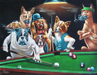 Dogs Playing Pool Art Fabric Poster HD Print Home Wall Decor Multi Sizes #HB105 $8.0 USD on eBay
