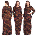 Plus Size Women Flower Long Print Maxi Dress Party Evening Cocktail Gown Abaya