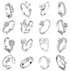 Uk Womens 925 Sterling Silver Plated Adjustable Wedding Engagement Rings Gift