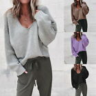Women's Lady Streetwear V Neck Long Sleeve Pullovers Loose Solid Knitted Sweater