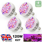 120W LED Grow Light Lamp E27 Full Spectrum Hydroponic Indoor Plants Flower Grow