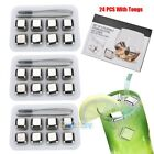 32x Stainless Steel Ice Cubes Chilling Rock Reusable for Whiskey Wine Drink FDA