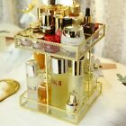 Gold Glass 360 Degree Rotation Cosmetics Storage Box Square Multi-function Gold