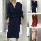 Fashion Women Dress Solid Color Loose Long Sleeve Gift S M L Elegant Clubwear