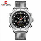 NAVIFORCE Mens Sport Analog Digital Watches Luxury Stainless Steel Wristwatches