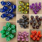 10pcs/set Six Sided D6 RPG Transparent Straight Corner Dice Party Toy Tool New