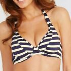FIGLEAVES Santa Maria Striped HALTERNECK BIKINI TOP Blue Cream NEW