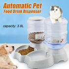 3.8L Large Automatic Pet Food Drink Dispenser Dog Cat Feeder Water Dish Bowl US