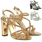 Womens Block Heel Strappy Sandals Ladies Diamante Bridal Party Evening Shoes 3-8