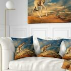 Designart 'Giraffe on Sand Dune' Animal Throw Pillow