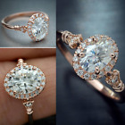 Women Rings Rose Gold Filled Jewelry Oval Cut White Sapphire Ring Size 6-10 image